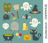 halloween related objects and... | Shutterstock .eps vector #156994928