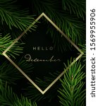 christmas frame with fir tree... | Shutterstock .eps vector #1569955906
