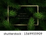christmas frame with fir tree... | Shutterstock .eps vector #1569955909