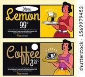 retro waitress serving drinks... | Shutterstock .eps vector #1569979453