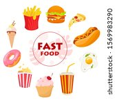 fast food concept set.... | Shutterstock .eps vector #1569983290