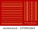 asian border set in vintage... | Shutterstock .eps vector #1570001863