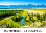 Green mountain river valley landscape. Mountain river valley panorama. River valley in mountains. Mountain valley river view