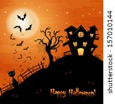 halloween illustration with cat ... | Shutterstock .eps vector #157010144