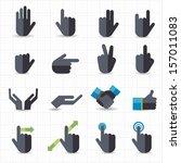 hand gesture black icons | Shutterstock .eps vector #157011083