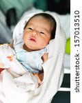 newborn asian baby girl in... | Shutterstock . vector #157013510