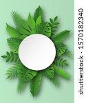 paper tropical leaves. papercut ... | Shutterstock .eps vector #1570182340