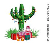 cactus tree with a garland of... | Shutterstock .eps vector #1570197679