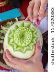 Thai Fruit Art With Hand Of...