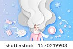 beautiful girl with long hair... | Shutterstock .eps vector #1570219903