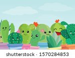 set of cute cartoon cactus and... | Shutterstock .eps vector #1570284853