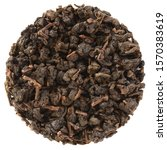 Small photo of Organic tea leaves placed in round shape. Paguashan Wu Yi Natural Farming Overlord Charcoal Roasted Taiwan Oolong Tea isolated on white background