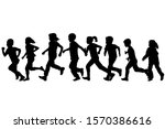 black silhouettes of children... | Shutterstock .eps vector #1570386616