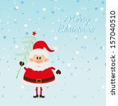 santa claus with christmas tree ... | Shutterstock .eps vector #157040510
