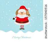santa claus with a bag of the... | Shutterstock .eps vector #157040516