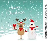 postcard snowman and reindeer | Shutterstock .eps vector #157040576