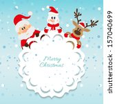 santa claus  snowman and... | Shutterstock .eps vector #157040699