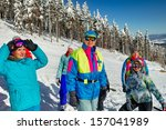 portrait of group of skiers... | Shutterstock . vector #157041989
