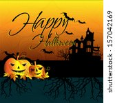 happy halloween design... | Shutterstock .eps vector #157042169
