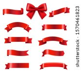 big set red bow and ribbons  | Shutterstock . vector #1570461823