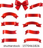 big set red bow and ribbons... | Shutterstock .eps vector #1570461826