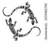 lizards maori style. tattoo... | Shutterstock .eps vector #1570482790