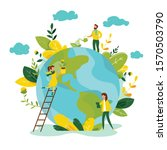 ecology concept. people take... | Shutterstock .eps vector #1570503790