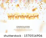 golden winner word on falling... | Shutterstock .eps vector #1570516906