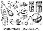 sea salt set. glass bottles ... | Shutterstock .eps vector #1570531693
