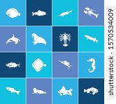 seafood icon set and harbor...