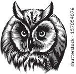 Stock vector owl bird head black and white style 157054076