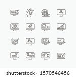 web icon set and domain with...