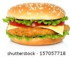 Big Chicken Hamburger On White...
