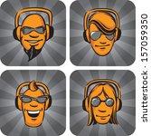 vector illustration of dj heads ... | Shutterstock .eps vector #157059350
