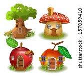 fairytale houses | Shutterstock .eps vector #157059410