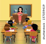 teaching lesson in classroom | Shutterstock .eps vector #157059419