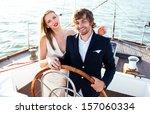 fashion beautiful couple in... | Shutterstock . vector #157060334