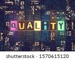 the word quality as neon... | Shutterstock . vector #1570615120