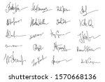 autographs set. personal... | Shutterstock .eps vector #1570668136