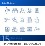 courthouse line icon set. jury... | Shutterstock .eps vector #1570702606