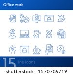 office work icons. set of line...
