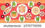food on christmas or new year... | Shutterstock .eps vector #1570770550