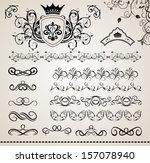 illustration set floral ornate... | Shutterstock . vector #157078940