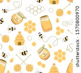 Bee Honey Seamless Pattern...