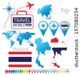 flag. Asia. World Map. Travel vector Illustration.