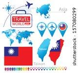Taiwan. Flag. Asia. World Map....