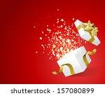 open gift and light fireworks... | Shutterstock .eps vector #157080899