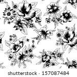 black and white flowers.vector... | Shutterstock .eps vector #157087484