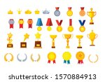 vector set of flat gold and... | Shutterstock .eps vector #1570884913