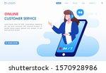 online customer service landing ...   Shutterstock .eps vector #1570928986